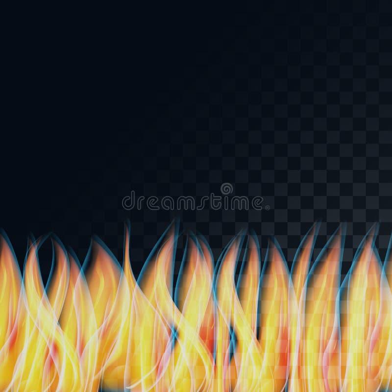 Las llamas calientes amarillas luminosas transparentes del extracto hermoso, fuego en una oscuridad semitransparente, ajustaron e stock de ilustración