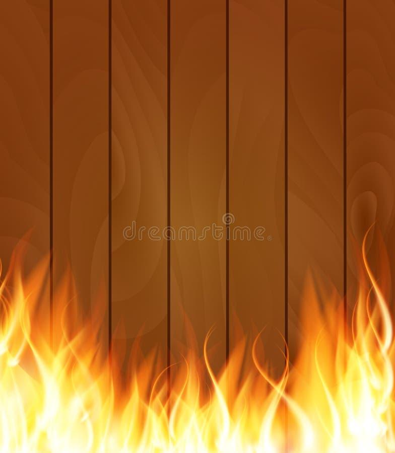 Las llamas especiales del efecto luminoso del fuego ardiente en la madera suben a Backgrou stock de ilustración