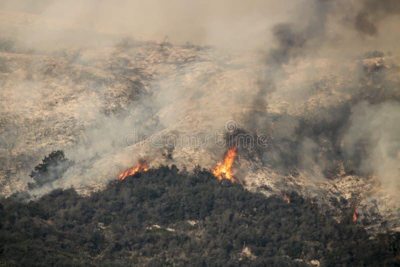 Las llamas señalan por medio de luces para arriba en la ladera de California sobre Carpinteria fotografía de archivo libre de regalías