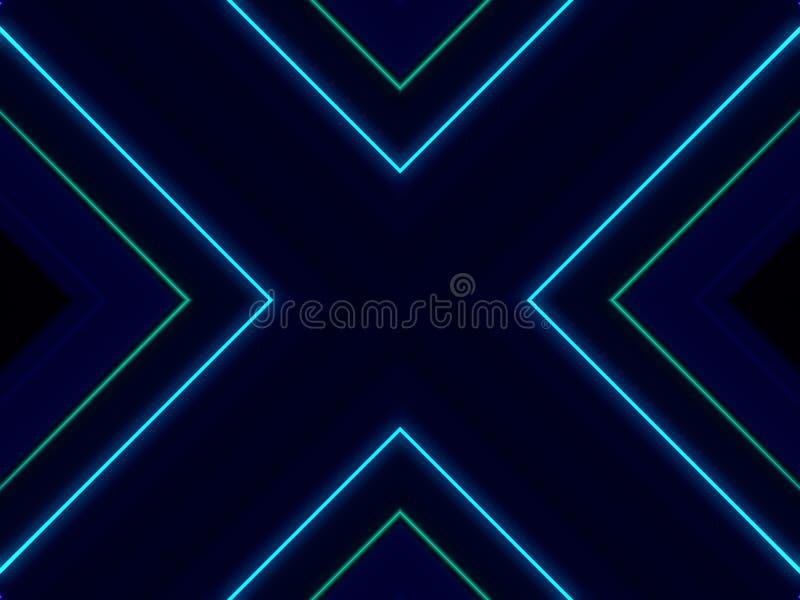 Las luces abstractas cruzadas bailan el fondo, tema azul ilustración del vector