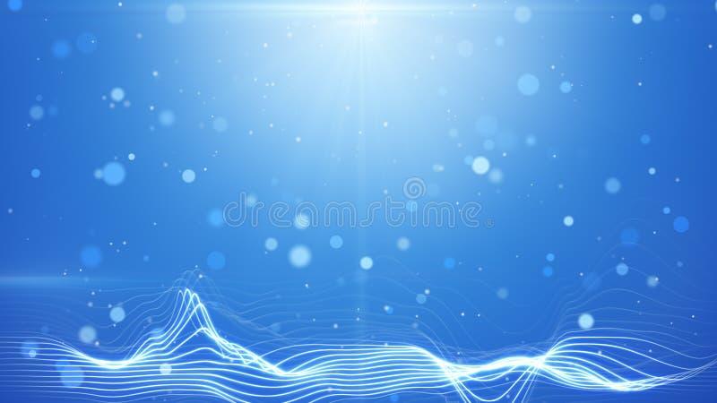 Las luces azules del bokeh y las líneas onduladas resumen el fondo libre illustration