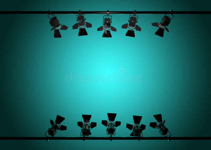 Las luces 3d de la etapa rinden ilustración del vector
