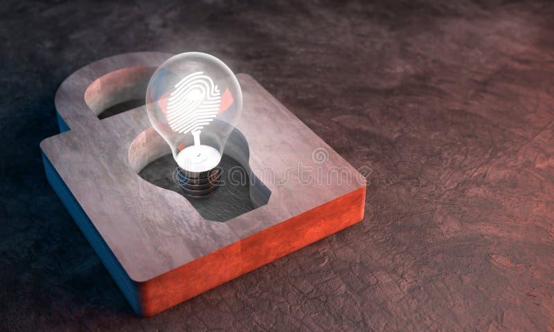 Las luces de bulbo, Copyright protegen y cierran idea creativa fotografía de archivo