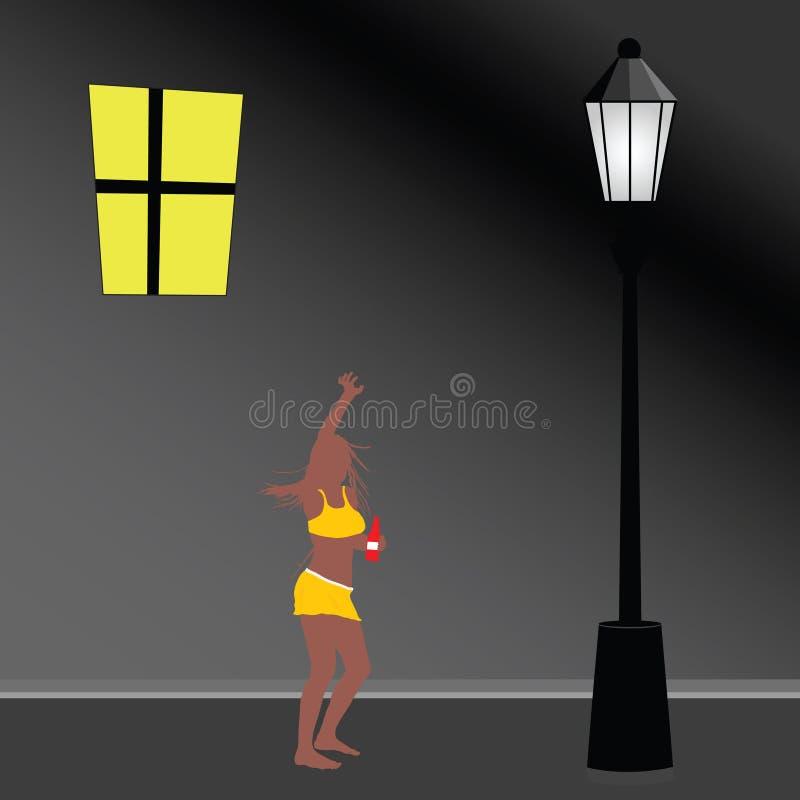 Las luces de calle y la muchacha atractiva colorean el ejemplo del vector libre illustration