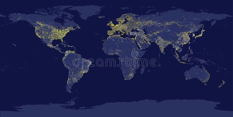 Las luces de la ciudad de la tierra trazan con las siluetas de continentes ilustración del vector