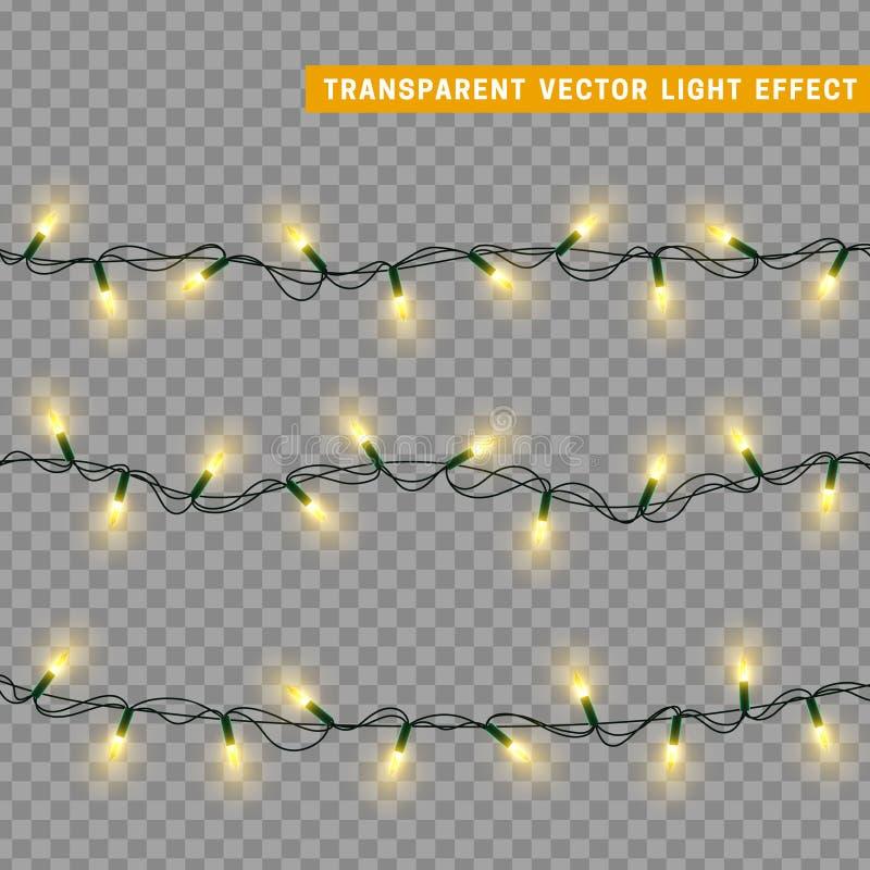 Las luces de la Navidad aislaron elementos realistas del diseño stock de ilustración
