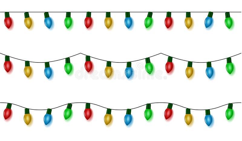 Las luces de la Navidad atan el vector, sistema de la guirnalda del color aislado en blanco Bolas de la guirnalda inconsútiles ha ilustración del vector