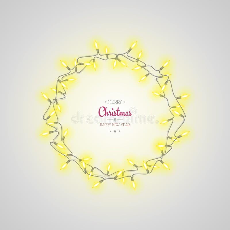 Las luces de la Navidad que brillan intensamente enrruellan en fondo gris claro Tarjeta de felicitación del día de fiesta del Año ilustración del vector