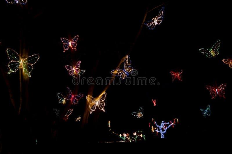 Las luces de la Navidad vuelan como mariposas en la noche foto de archivo libre de regalías