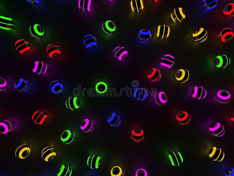 Las luces de neón coloridas de las esferas luminosas resumen el fondo - ejemplo 3D ilustración del vector