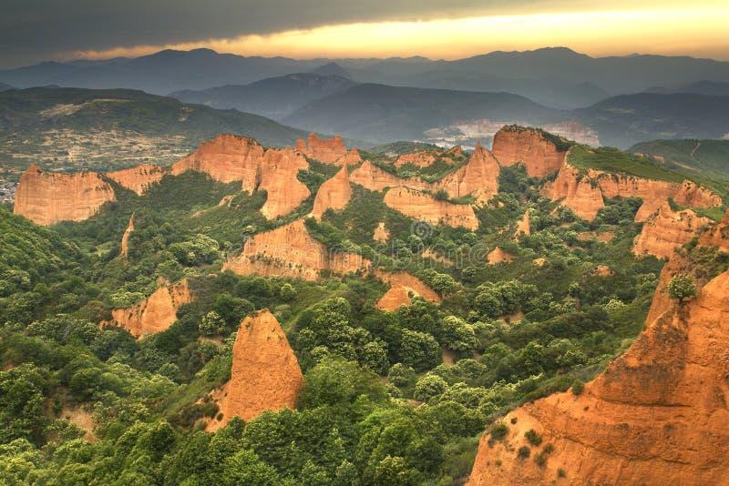Las Médulas von Leon, Spanien lizenzfreie stockbilder