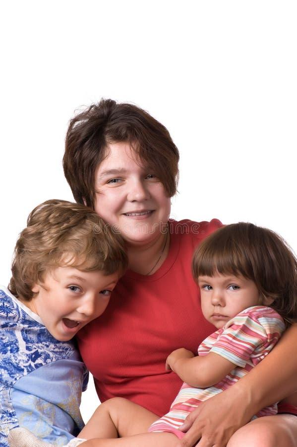 Las madres del retrato con los niños se cierran para arriba fotografía de archivo