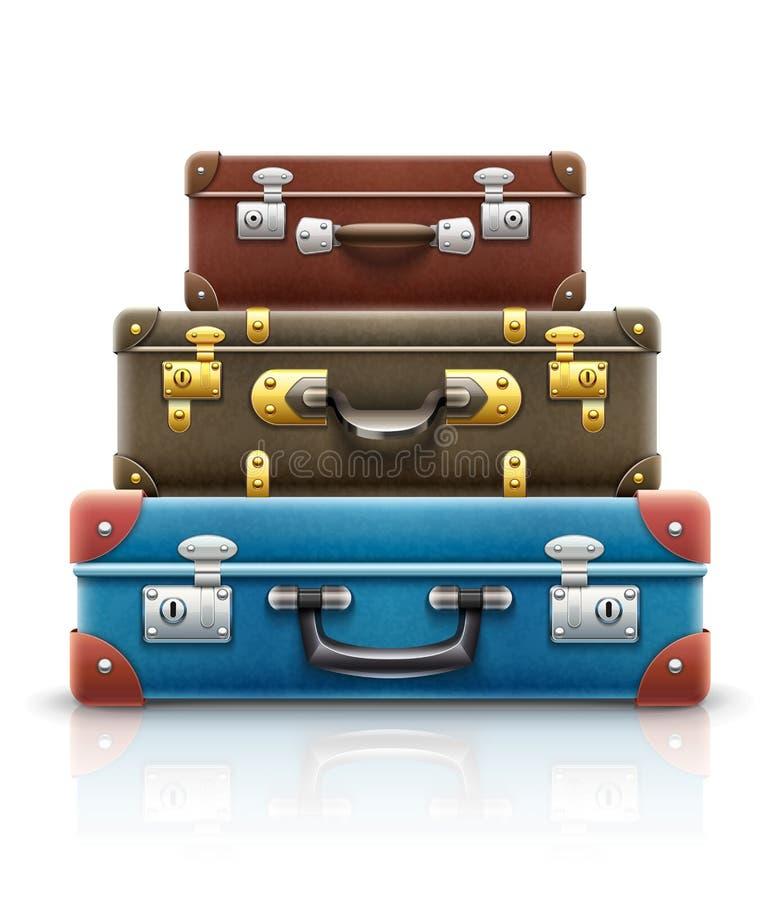 Las maletas retras viejas del vintage empaquetan la pila para el viaje Ilustración del vector EPS10 En el fondo blanco ilustración del vector