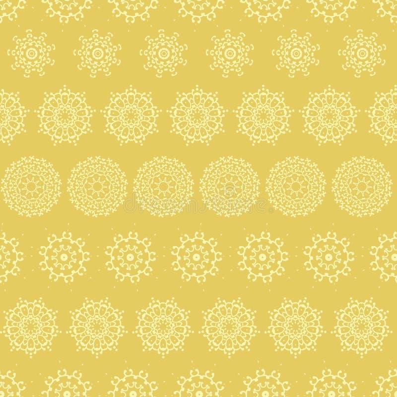 Las mandalas amarillas del extracto de la mostaza rayaron el fondo inconsútil del modelo libre illustration