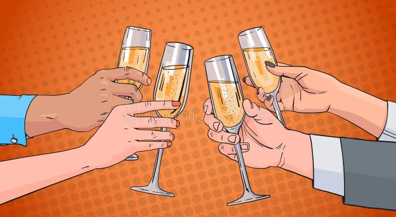 Las manos agrupan el vidrio que tintinea de Champagne Wine Toasting Pop Art Pin Up Background retro stock de ilustración