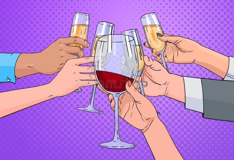 Las manos agrupan el vidrio que tintinea del estallido Art Retro Pin Up Background de Champagne And Red Wine Toasting ilustración del vector