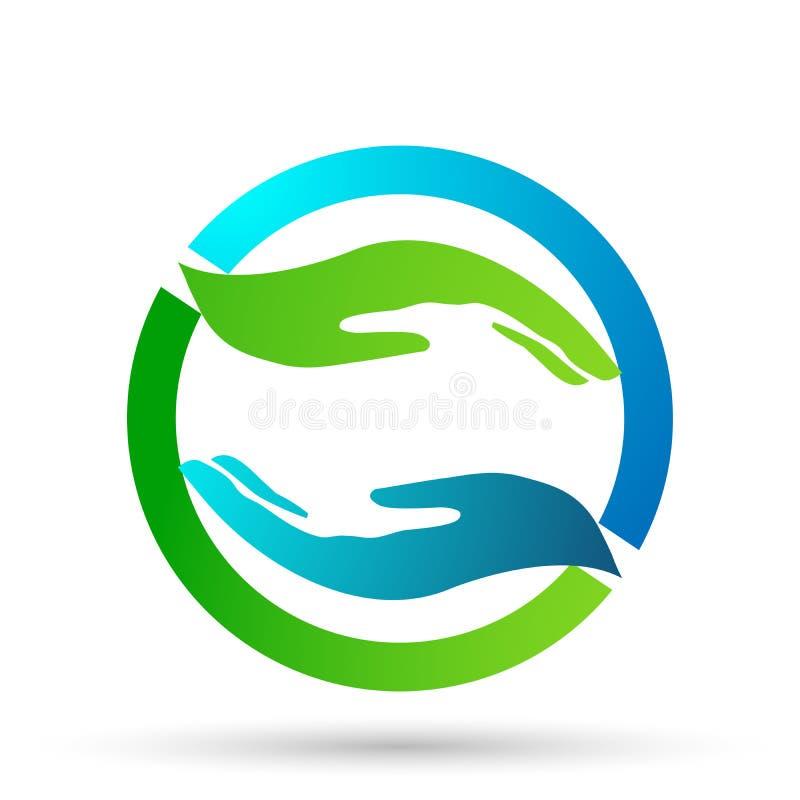 Las manos amigas cuidan dise?os del vector del icono del logotipo de las manos en el fondo blanco libre illustration