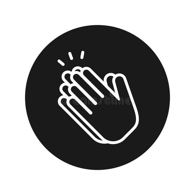 Las manos aplauden el ejemplo redondo negro plano del vector del botón del icono stock de ilustración