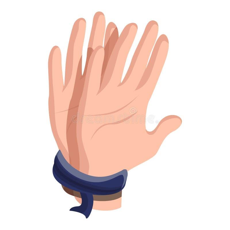 Las manos ataron el icono, estilo de la historieta ilustración del vector
