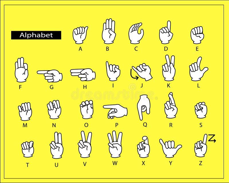 Las manos blancas están haciendo lenguaje de signos del alfabeto ilustración del vector