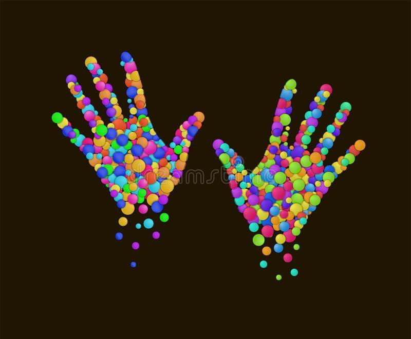 Las manos coloreadas creadas de las rondas coloreadas multicoloras, comcept emocional de la vida, serie de las emociones, colorea libre illustration