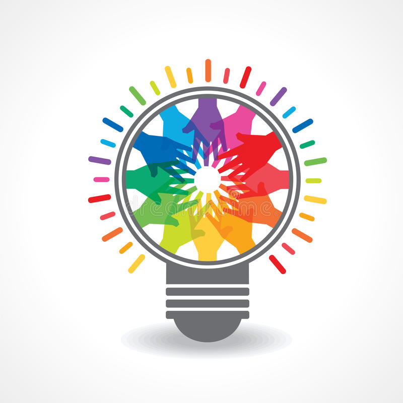 Las manos coloridas hacen una luz - bulbo stock de ilustración