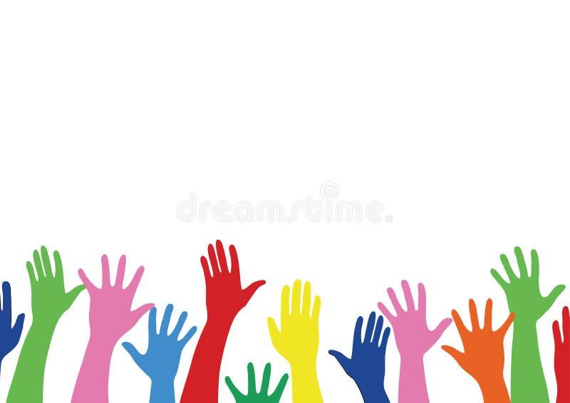 Las manos coloridas suben y el vector del arte del fondo stock de ilustración