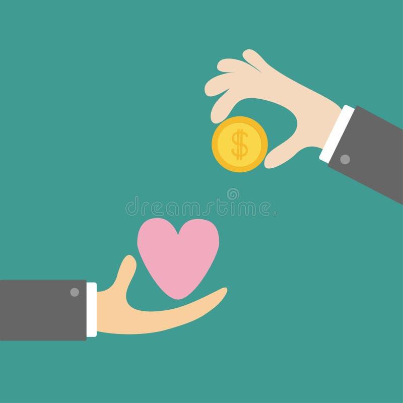 Las manos con el dólar del oro del corazón y del dinero acuñan Intercambiar concepto Venta de símbolo del amor Sistema del icono  libre illustration