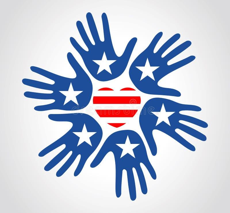 Las manos con el modelo de la bandera de los E.E.U.U. protagonizan Día de la Independencia del corazón de las rayas ilustración del vector