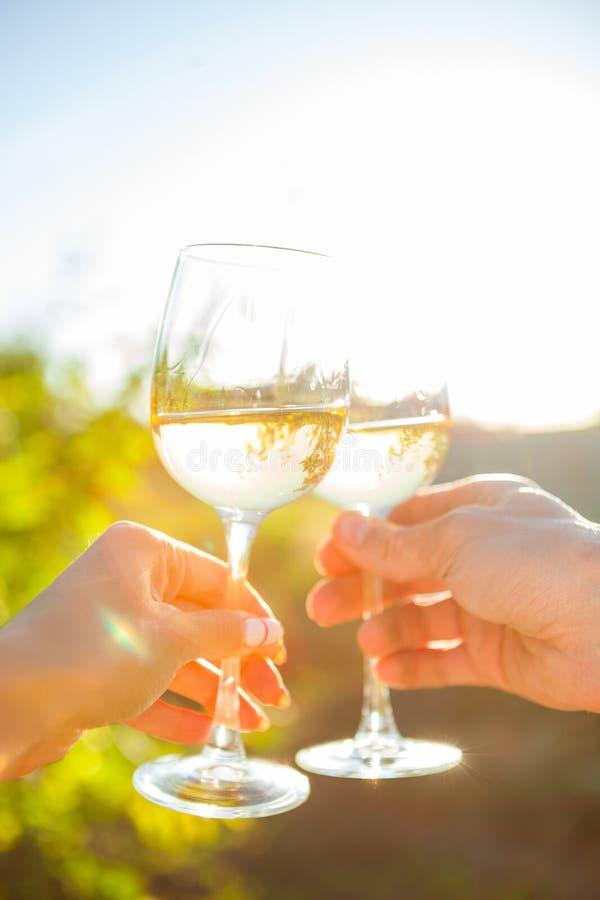 Las manos con el vino blanco que tuesta en jardín meriendan en el campo Amigos Happine fotos de archivo libres de regalías