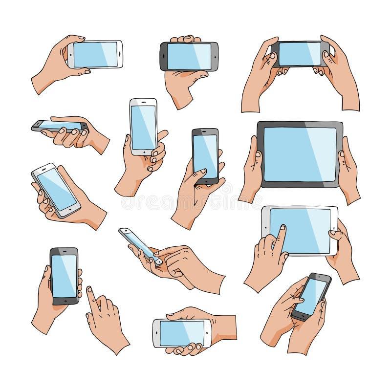 Las manos con los artilugios vector la mano que sostiene el teléfono o la tableta y el carácter que trabaja en el sistema del eje stock de ilustración