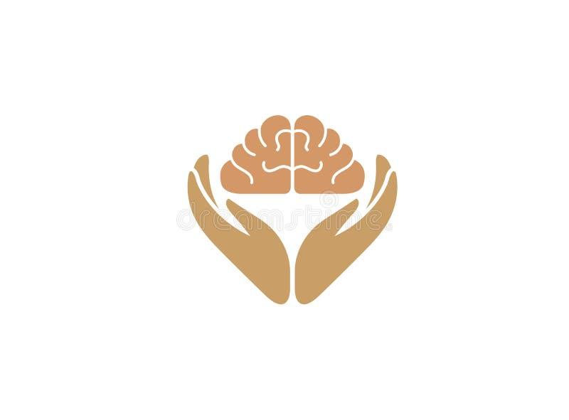 Las manos cuidan el cerebro humano y el conocimiento para el diseño del logotipo stock de ilustración