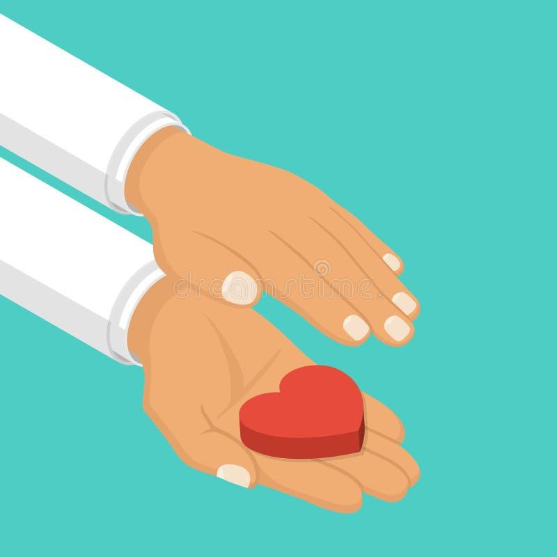 Las manos cuidan llevar a cabo el corazón stock de ilustración