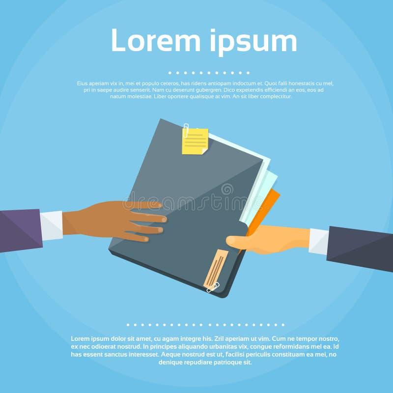 Las manos dan los papeles del documento de la carpeta, concepto libre illustration