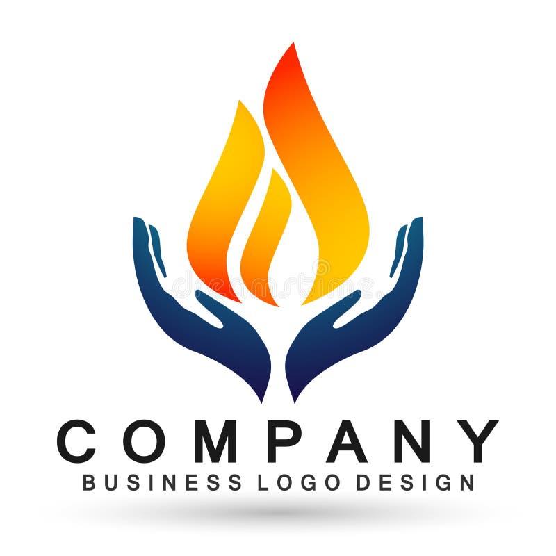 Las manos de la llama del mundo del globo cuidan la naturaleza del icono del símbolo del logotipo del descenso del agua del logot stock de ilustración