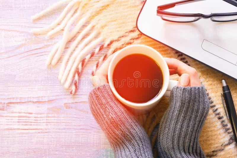 Las manos de la muchacha que sostienen una taza de café al hacer el trabajo del ordenador portátil con los vidrios en un día sole fotografía de archivo