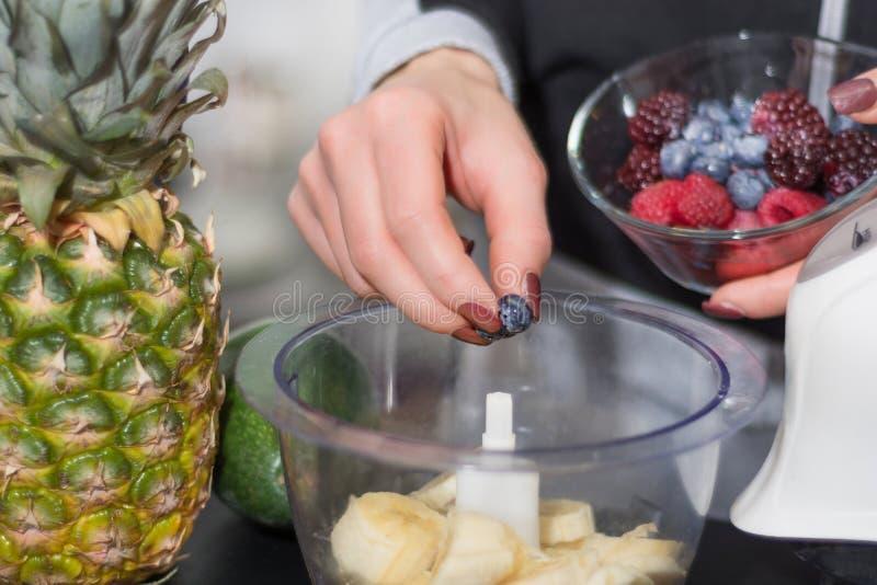 Las manos de la mujer ponen los arándanos en la licuadora para el smoothie de la fruta fotos de archivo