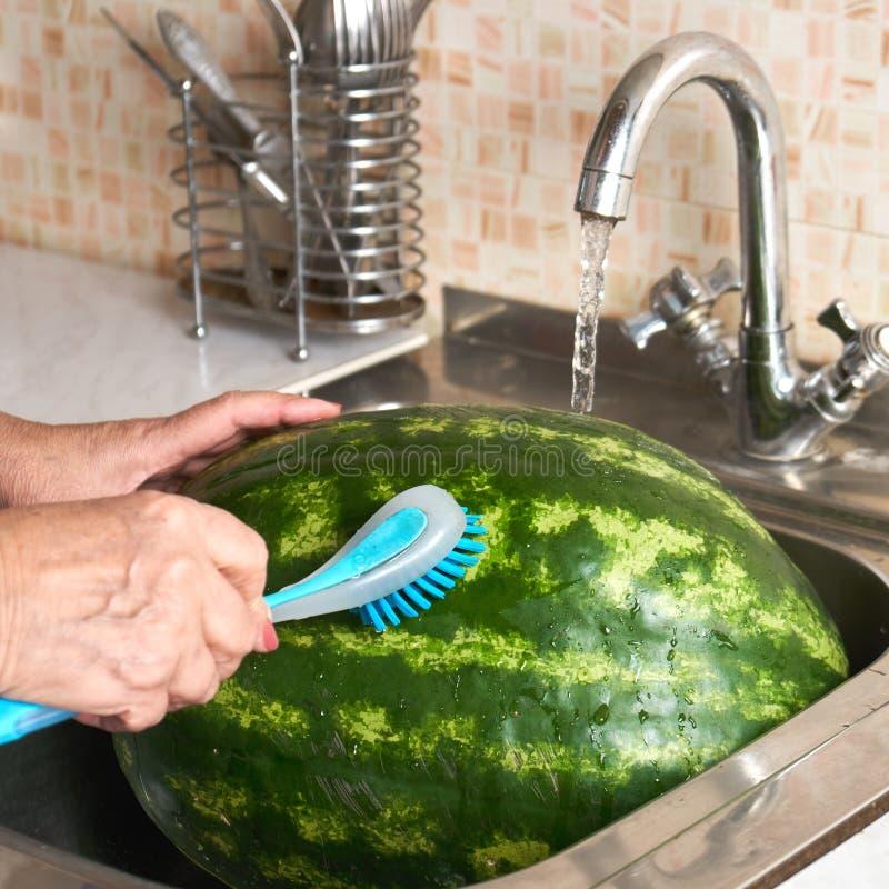 Las manos de la mujer que lavan una sandía en fregadero con el cepillo del lavaplatos fotografía de archivo