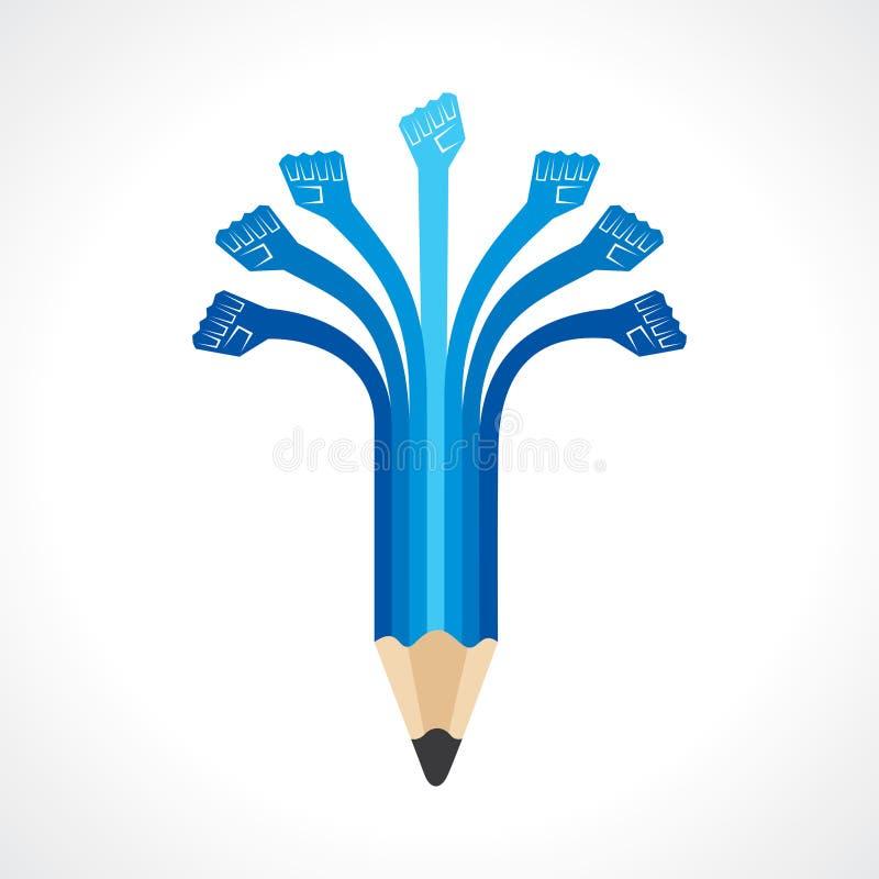 Las manos de la unidad hacen el lápiz libre illustration