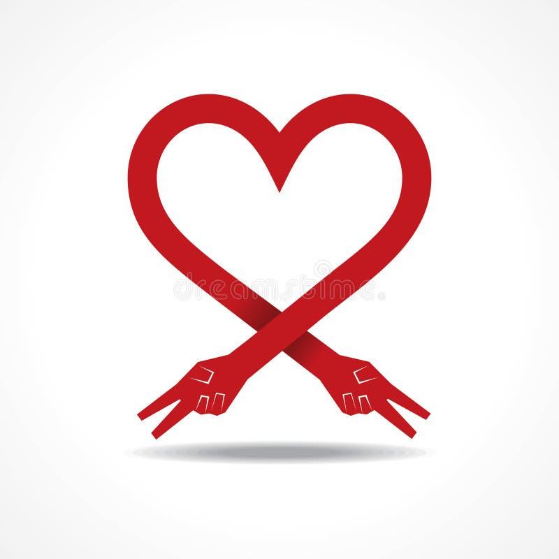 Las manos de la victoria hacen forma del corazón ilustración del vector