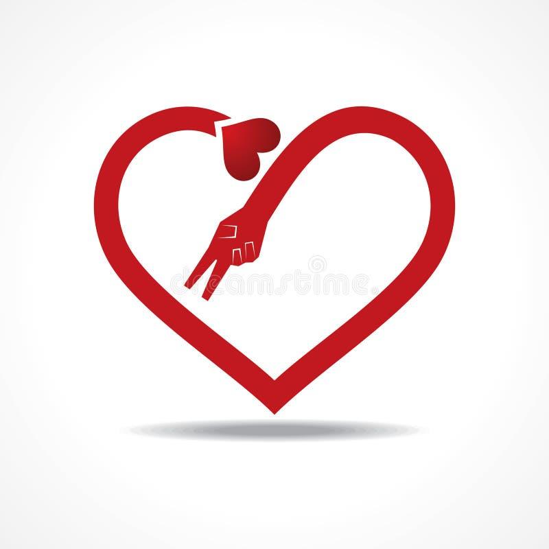 Las manos de la victoria hacen forma del corazón libre illustration