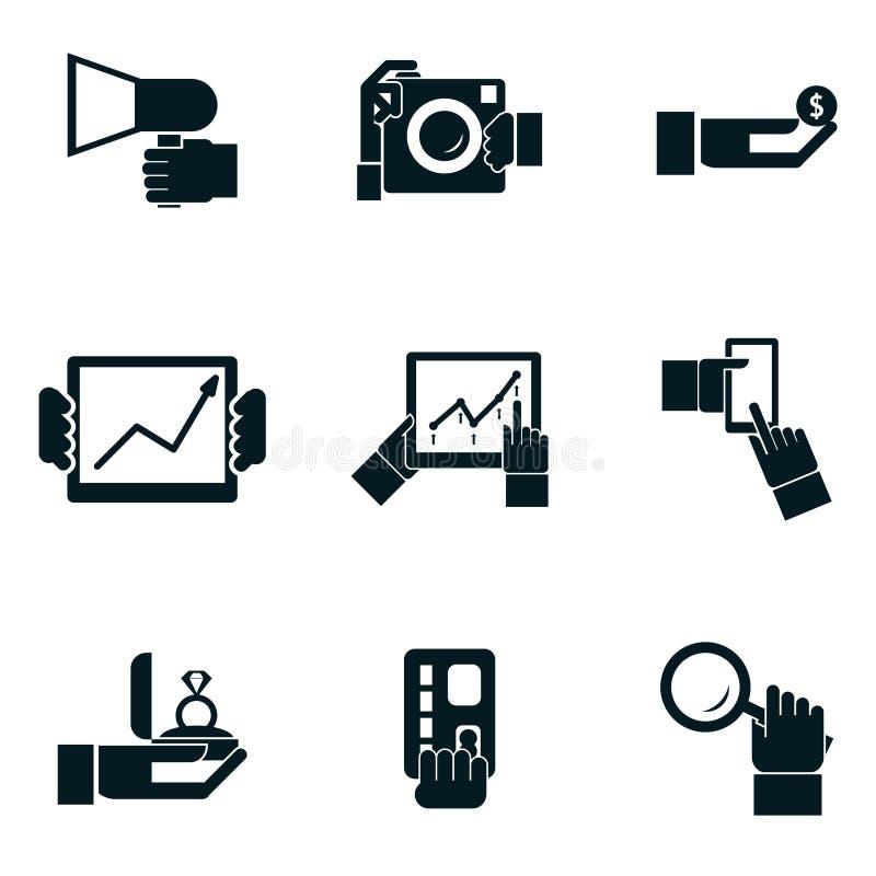 Las manos de las compras y del viaje del negocio aislaron iconos stock de ilustración