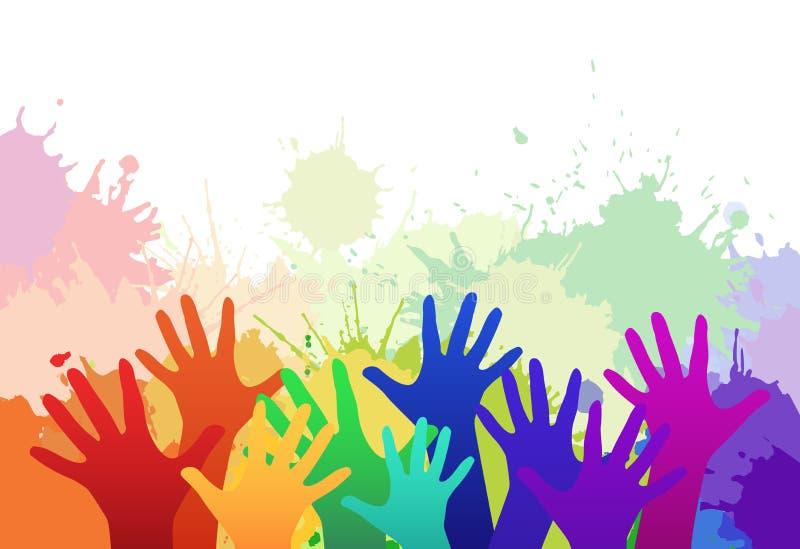 Las manos de los niños multicolores del arco iris stock de ilustración