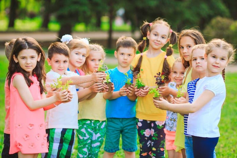 Las manos de los niños que plantan el árbol joven en suelo negro junto como el concepto del mundo de rescate imagenes de archivo