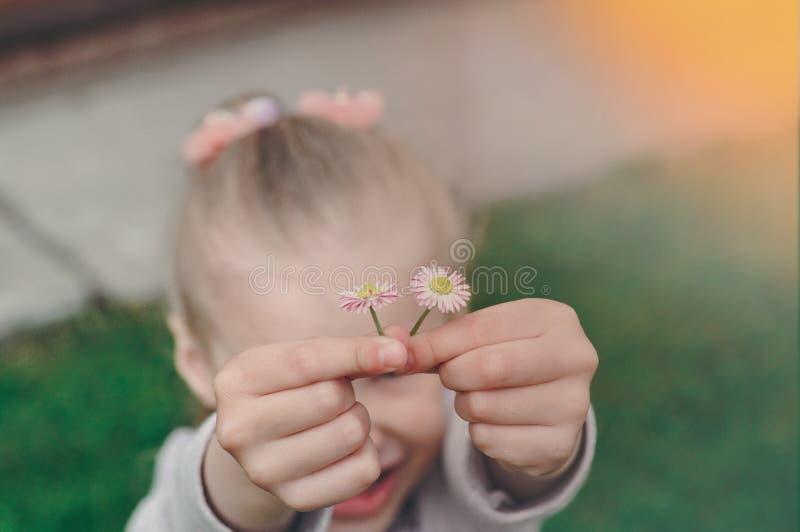 Las manos de los pequeños niños que sostienen una flor de la margarita sobre mi cabeza en verano fotografía de archivo libre de regalías