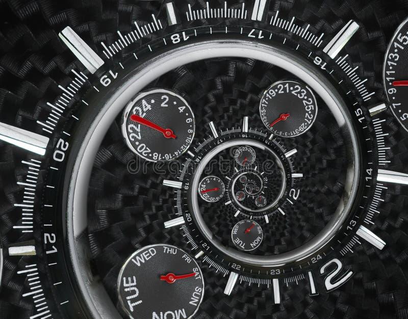 Las manos de reloj rojas negras de plata modernas del reloj de reloj de la moda torcieron al espiral surrealista del tiempo Abstr fotos de archivo