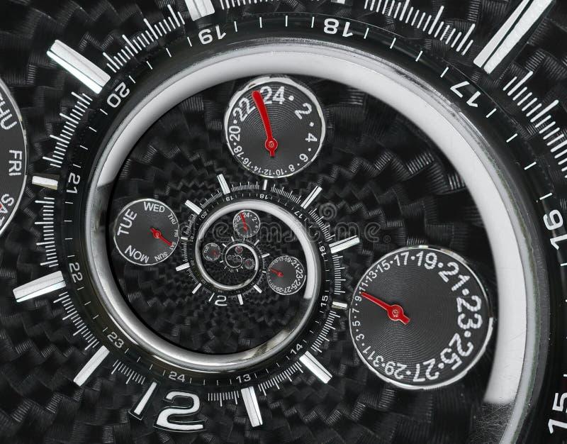 Las manos de reloj rojas negras de plata modernas del reloj de reloj de la moda torcieron al espiral surrealista del tiempo Abstr foto de archivo
