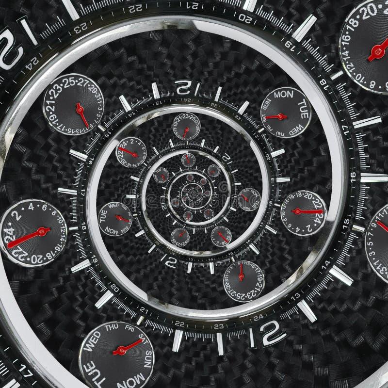 Las manos de reloj rojas negras de plata modernas del reloj de reloj de la moda torcieron al espiral surrealista del tiempo Abstr imagen de archivo