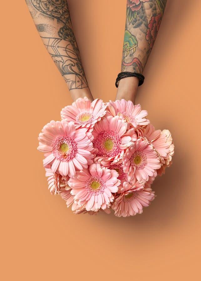Las manos de una mujer con un tatuaje sostienen un ramo hermoso con los gerberas rosados en un fondo anaranjado foto de archivo