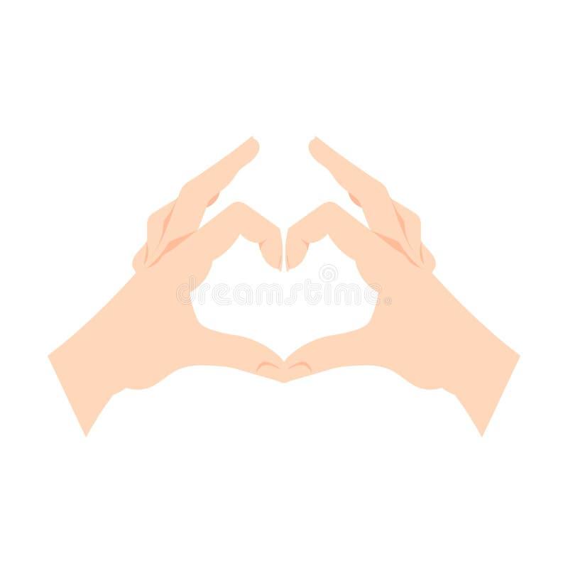 Las manos del gesto del corazón del vector aisladas en el fondo blanco, las manos humanas hacen símbolo del amor stock de ilustración